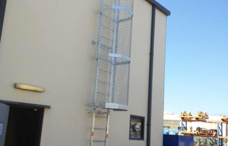 Caged access ladder